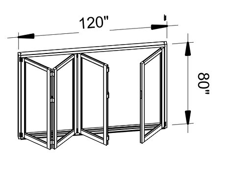 B75 Series| Teza Aluminum Bifold Door| 120″x 80″