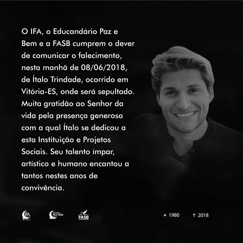 Falecimento do professor Ítalo Trindade, IFA e FASB.