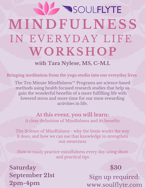 Mindfulness in Everyday Life Workshop So