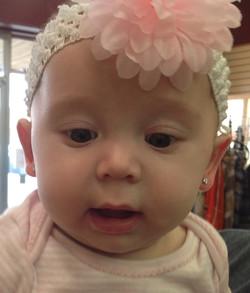 Jentry Halbert's newly pierced ears Feb 2015
