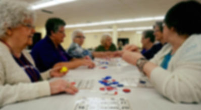 afternoon bingo is enjoyed by guests and volunteers