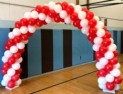 Red and White Full Garland Arch