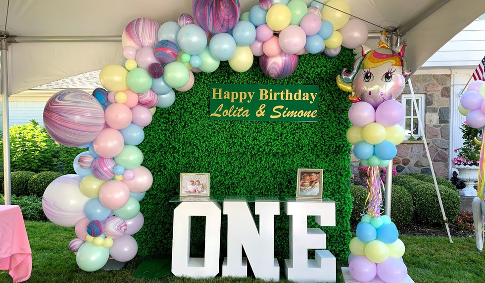 First Birthday balloons rentals turf backdrop party paradise