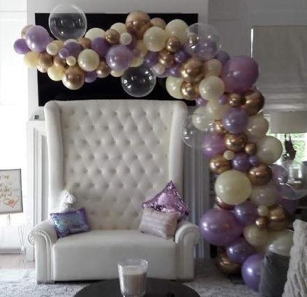 Half Organic Arch- Lavender, Clear, Ivory, Chrome Gold