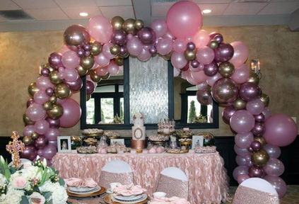 Pink tones full organic arch