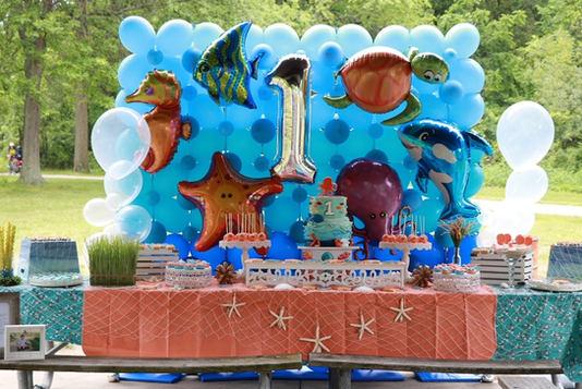 Under the sea themed Balloon wall