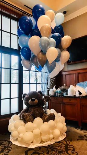 Teddy Bear on Cloud with bouquet