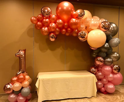 Organic Balloon Decor arch and number co