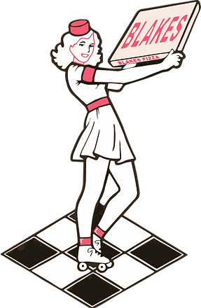 Blake's logo, Blanche the pizza girl