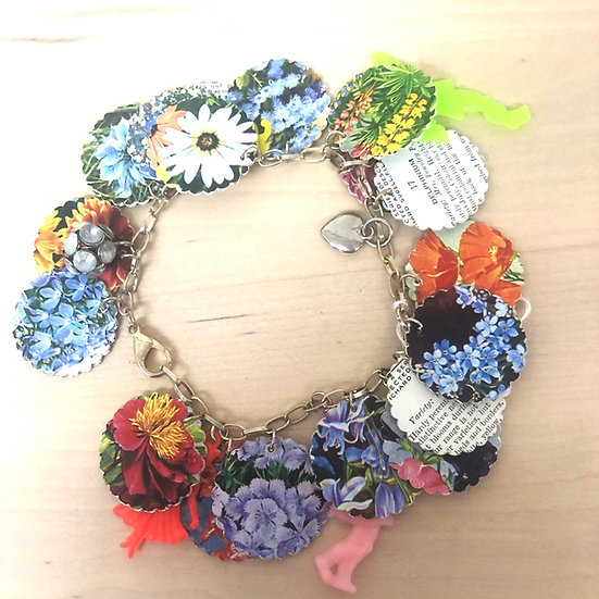 Upcycled paper charm bracelet