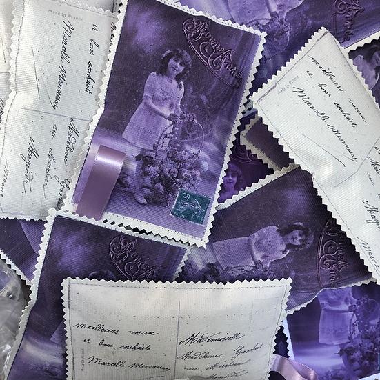 Vintage postcard lavender bag