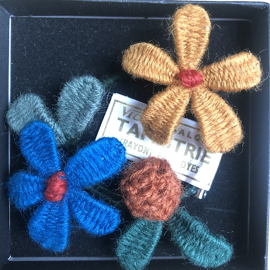 Upcycled tapestry brooch
