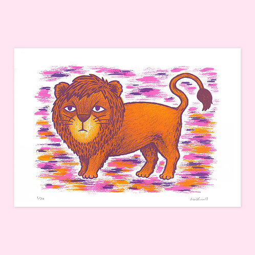 Grumpy Lion Screen Print