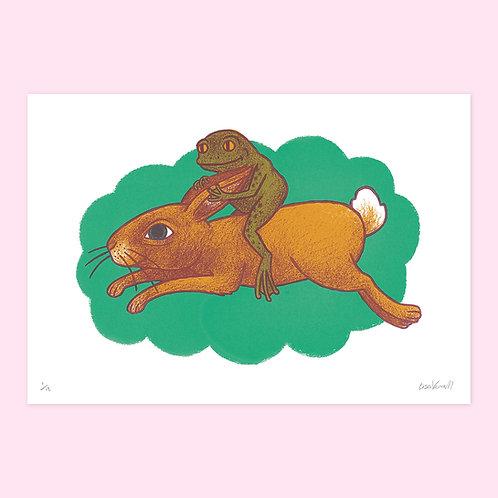 Rabbit Rider Screen Print