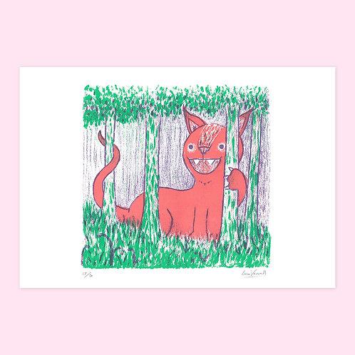 Forest Cat Screen Print