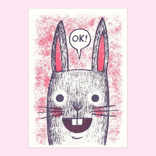 OK Rabbit Screen Printed Card
