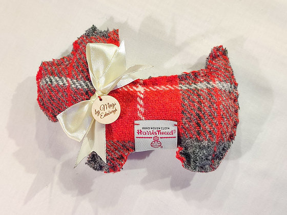 Lavender Filled Scottie Dog in Red Harris Tweed - Meet Brodie