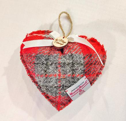Lavender Filled Heart In Red Harris Tweed