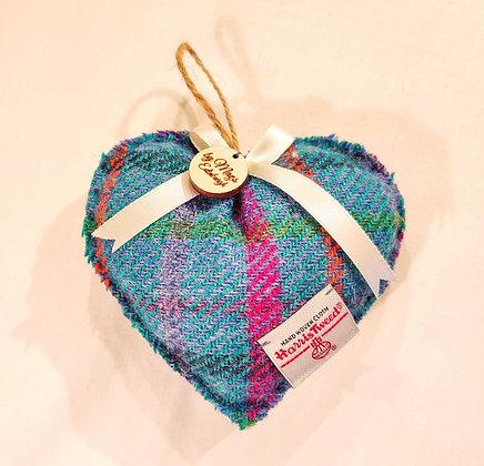 Lavender Filled Heart in Turquoise Harris Tweed