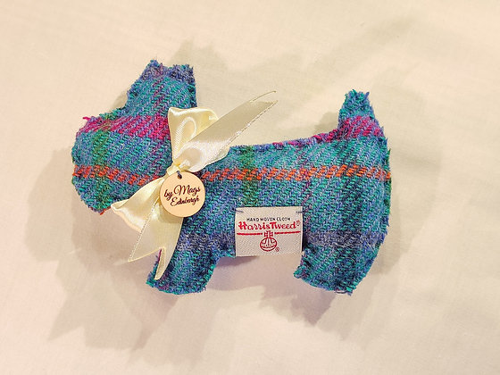 Lavender Filled Scottie Dog in Turquoise Harris Tweed - Meet Fergus