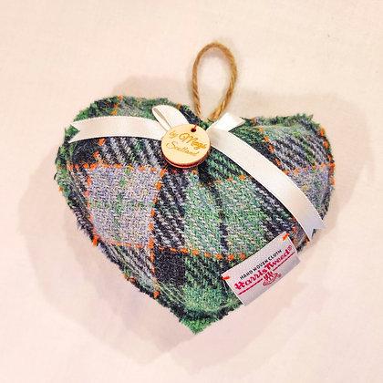 Lavender Filled Harris Tweed Heart in Green