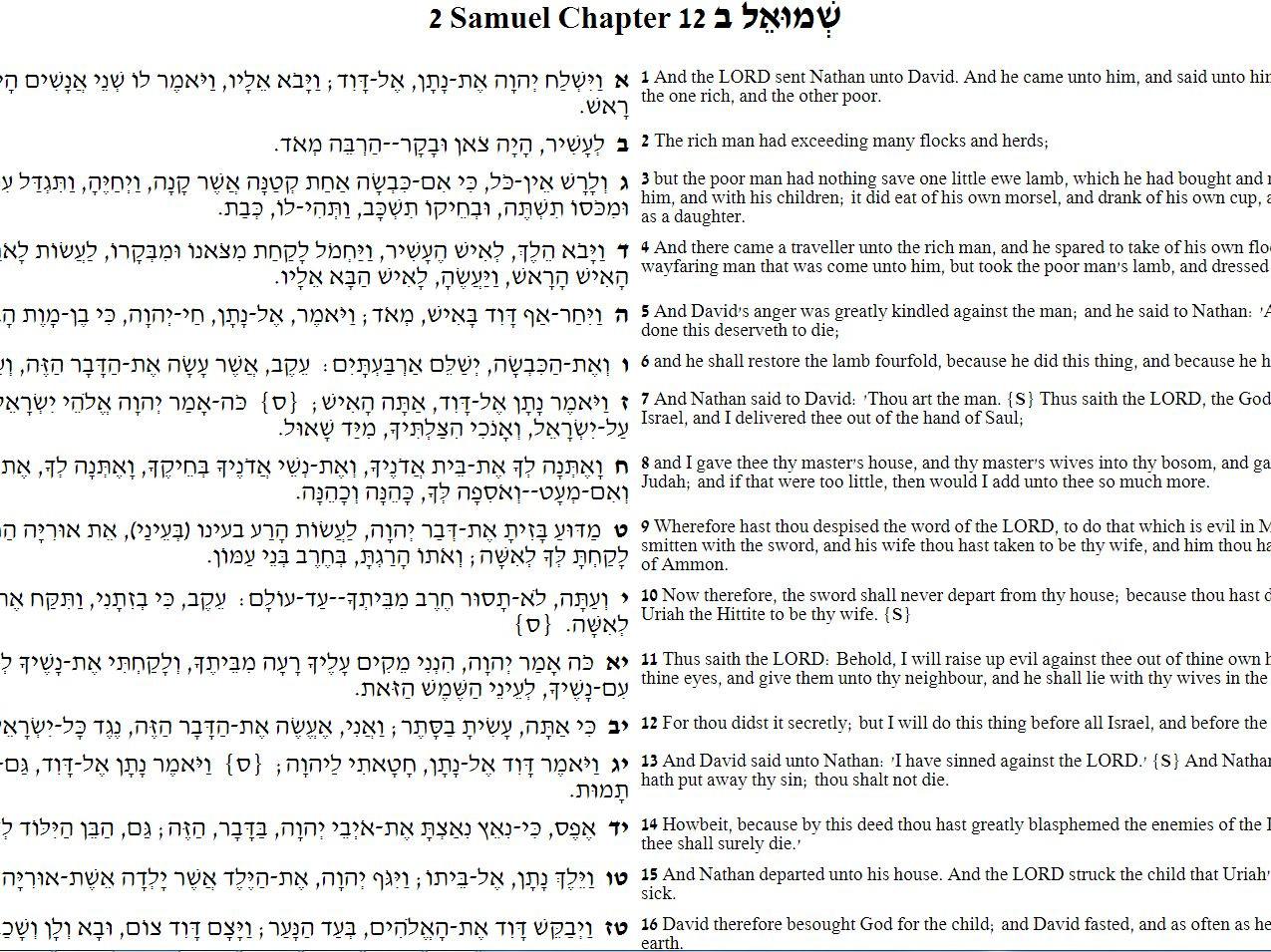12samuel masoretic hebew pg1