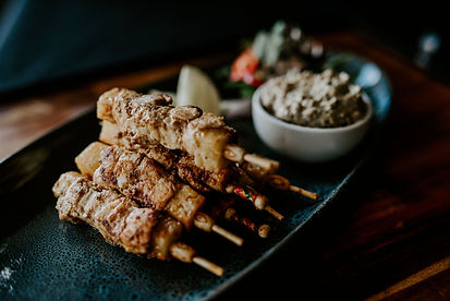Chicken and pineapple satay skewers with