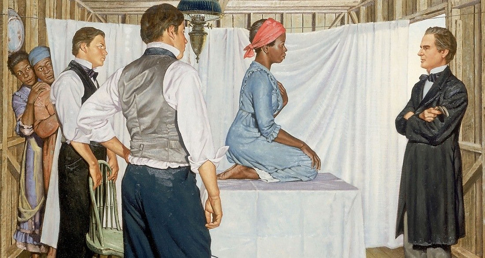 Painting of gynecologist Dr. J. Marion Sims with Anarcha by Robert Thom. Anarcha was subjected to 30 surgical experiments.