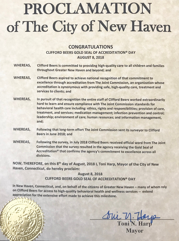 """Mayor Harp Proclaims August 8, 2018 """"Clifford Beers Gold Seal of Accreditation Day"""""""