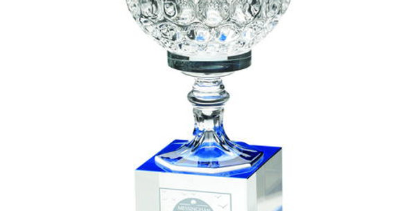 CLEAR/BLUE GLASS GOBLET ON CLEAR/BLUE BLOCK BASE