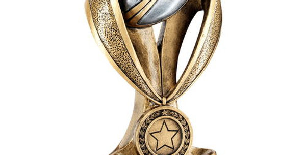 RUGBY BALL AND BOOT ON MEDAL/RIBBON RISER TROPHY