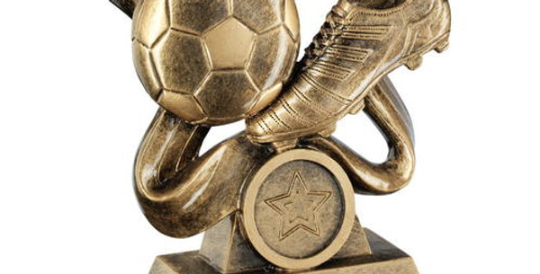 FOOTBALL AND BOOT ON SWIRLED RIBBON TROPHY