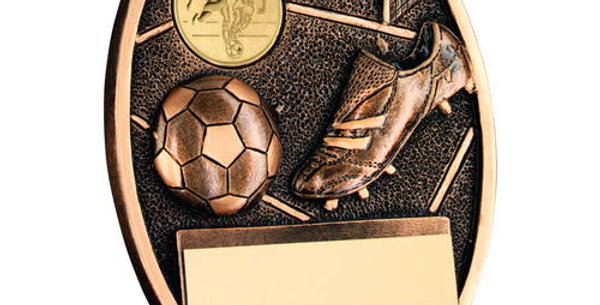 FOOTBALL AND BOOT OVAL PLAQUE TROPHY