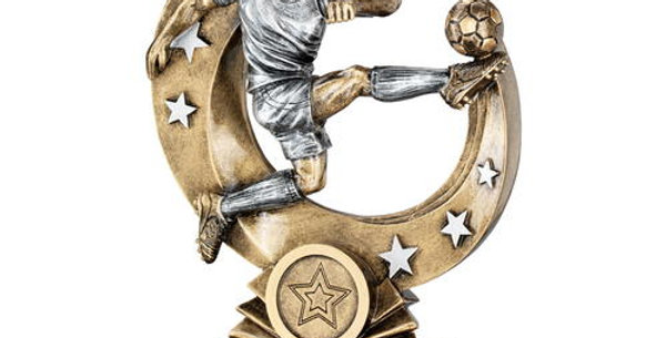 MALE 'FLYING VOLLEY' FIGURE WITH SILVER STARS TROPHY