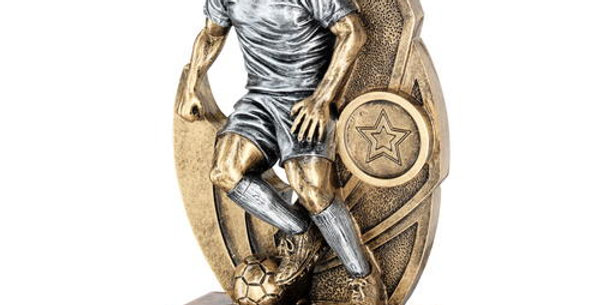 MALE FOOTBALL FIGURE ON BACKDROP TROPHY