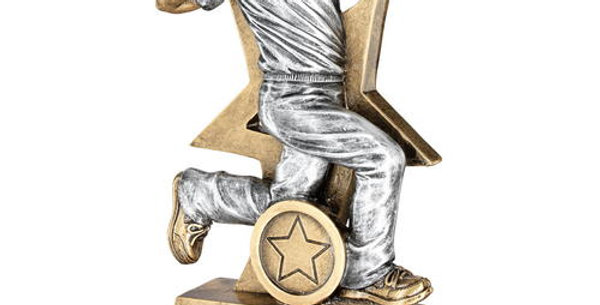 CRICKET BOWLER FIGURE WITH STAR BACKING TROPHY