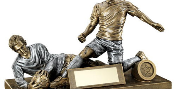 MALE FOOTBALL FIGURE AND GOALKEEPER TROPHY (1in CENTRE) - 7.5 x 10.5in