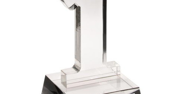 CLEAR GLASS 'No.1' TROPHY