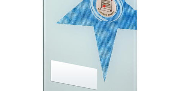 WHITE/BLUE PRINTED GLASS RECTANGLE WITH SCHOOL INSERT TROPHY - 8in