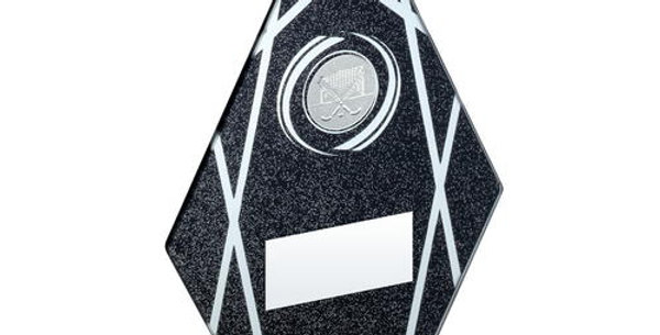 BLACK/SILVER PRINTED GLASS DIAMOND WITH HOCKEY INSERT TROPHY