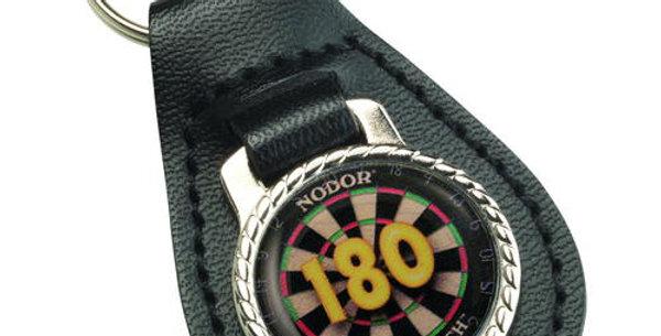 DARTS '180' BLACK LEATHER KEY FOB - 2.5in