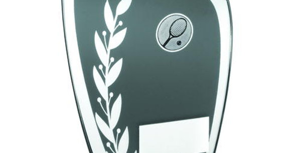 GREY/SILVER GLASS PLAQUE WITH TENNIS INSERT TROPHY