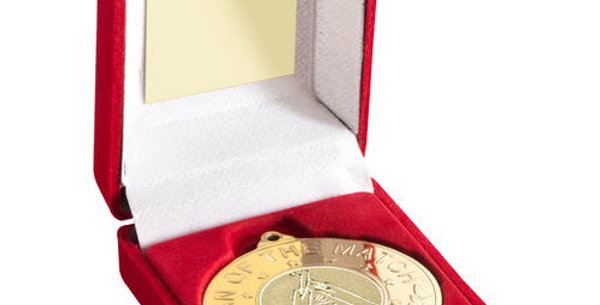 """RED BOX AND MEDAL WITH CRICKET INSERT 'M.O.T.M'- GOLD - 3.5"""""""