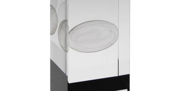 GLASS BLOCK WITH RUGBY IMAGE TROPHY