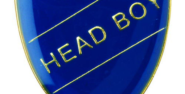 SCHOOL SHIELD BADGE (HEAD BOY) - BLUE - GREEN - RED - YELLOW