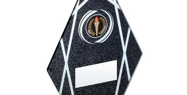 BLACK/SILVER GLASS DIAMOND PLAQUE ON BLACK BASE TROPHY