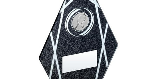 BLACK/SILVER PRINTED GLASS DIAMOND WITH TENNIS INSERT TROPHY