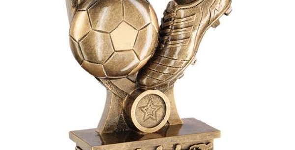 FOOTBALL AND BOOT SHIELD ON SILHOUETTE BASE TROPHY