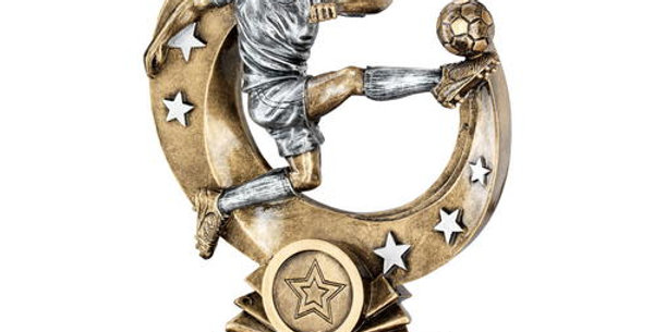 FEMALE 'FLYING VOLLEY' FIGURE WITH SILVER STARS TROPHY