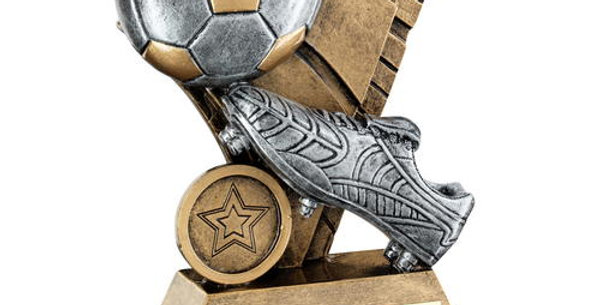 FOOTBALL AND BOOT ON SAIL BACKDROP TROPHY